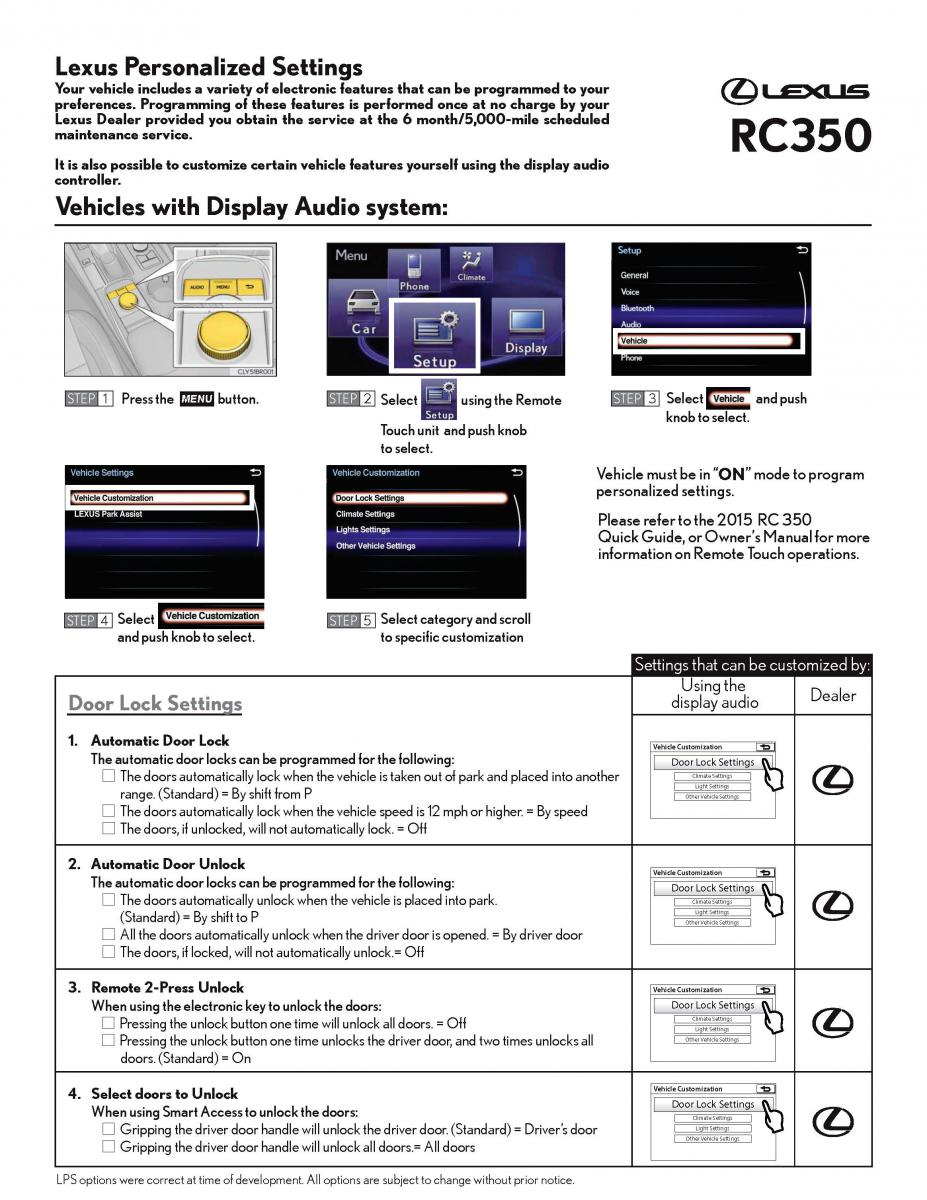 vehicle customization check sheet carista app lexus. Black Bedroom Furniture Sets. Home Design Ideas